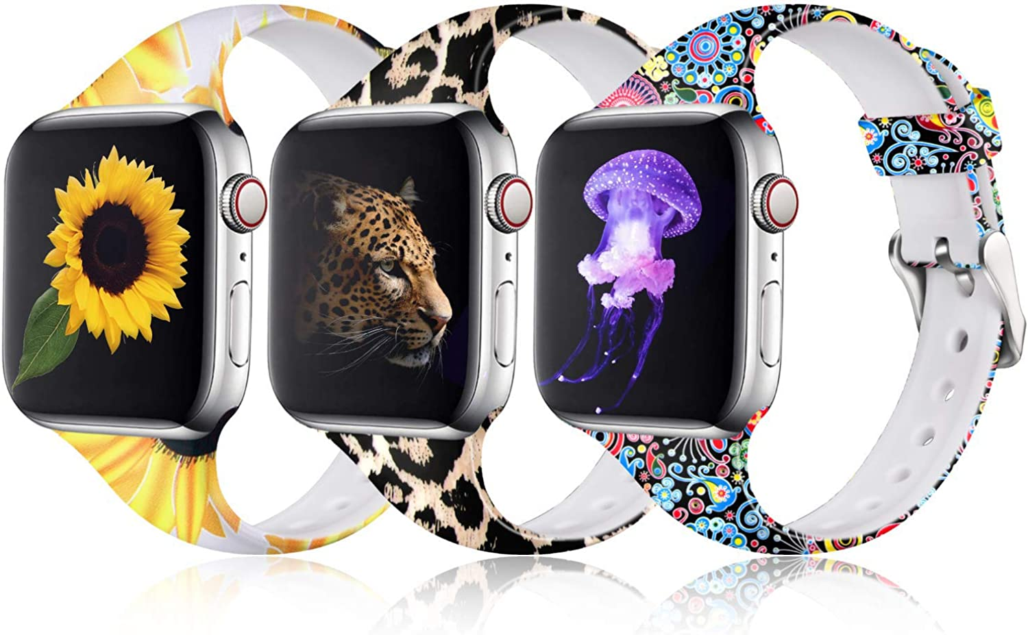 Laffav Compatible with Apple Watch Band 40mm 38mm 42mm 44mm iWatch SE & Series 6 & Series 5 4 3 2 1 for Women Womens girl 3 Pack