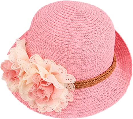 Parent-child Lace Mesh Dots Bow Flowers Straw hats 2019 New Spring Women/'s sun hat Solid Sunmmer Beach female Sun hat