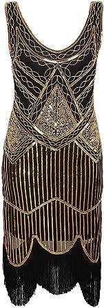 Zhhlinyuan Women 1920s Art Deco Sequin Paisley Flapper Tassel Beaded Gatsby Theme Vintage Evening Dress for Prom
