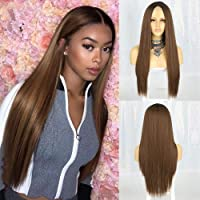 AISI QUEENS Long Straight Brown Wigs for Women Brown Ombre Synthetic Middle Part Fully Heat Resistant Wig for Daily…