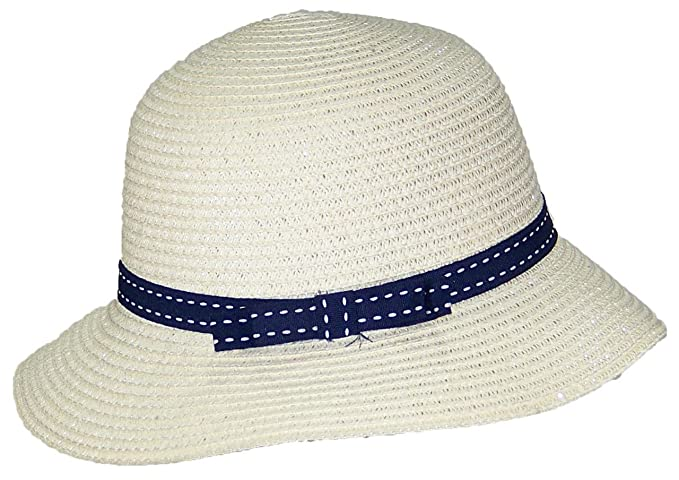 082736b9 Tropic Hats Womens Cloche Sun Packable Cap W/Dotted Line Band & Bow (One