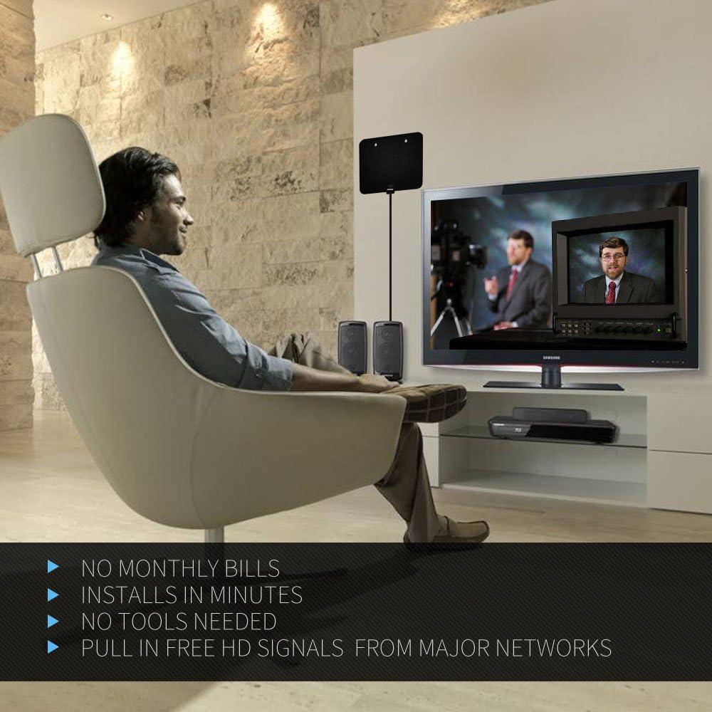 Antena HDTV, AKARY 50 Miles Rango 1080P Antena Interior Actualizado Versión FREE para la vida, Boost Signal TV Antena con Amplificador Desmontable: Amazon.es: Electrónica