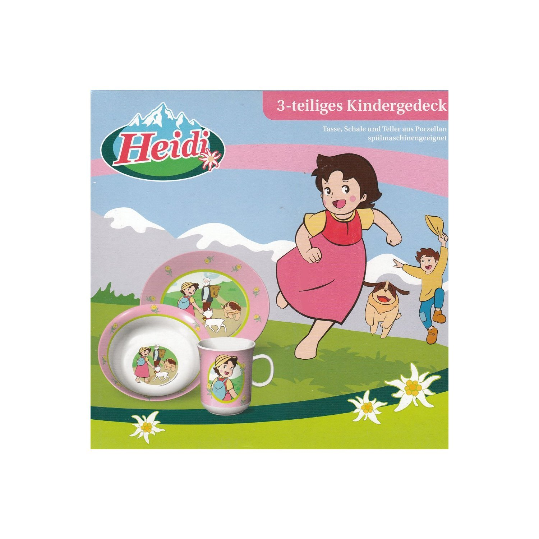 Schale Kindergeschirr aus Porzellan in dekorativer Geschenkbox Tasse Teller 3-teiliges Kindergedeck Heidi aus den Bergen