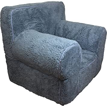 CUB CHAIRS Comfy Small Grey Sherpa Kidu0027s Chair With Machine Washable  Removable Cover