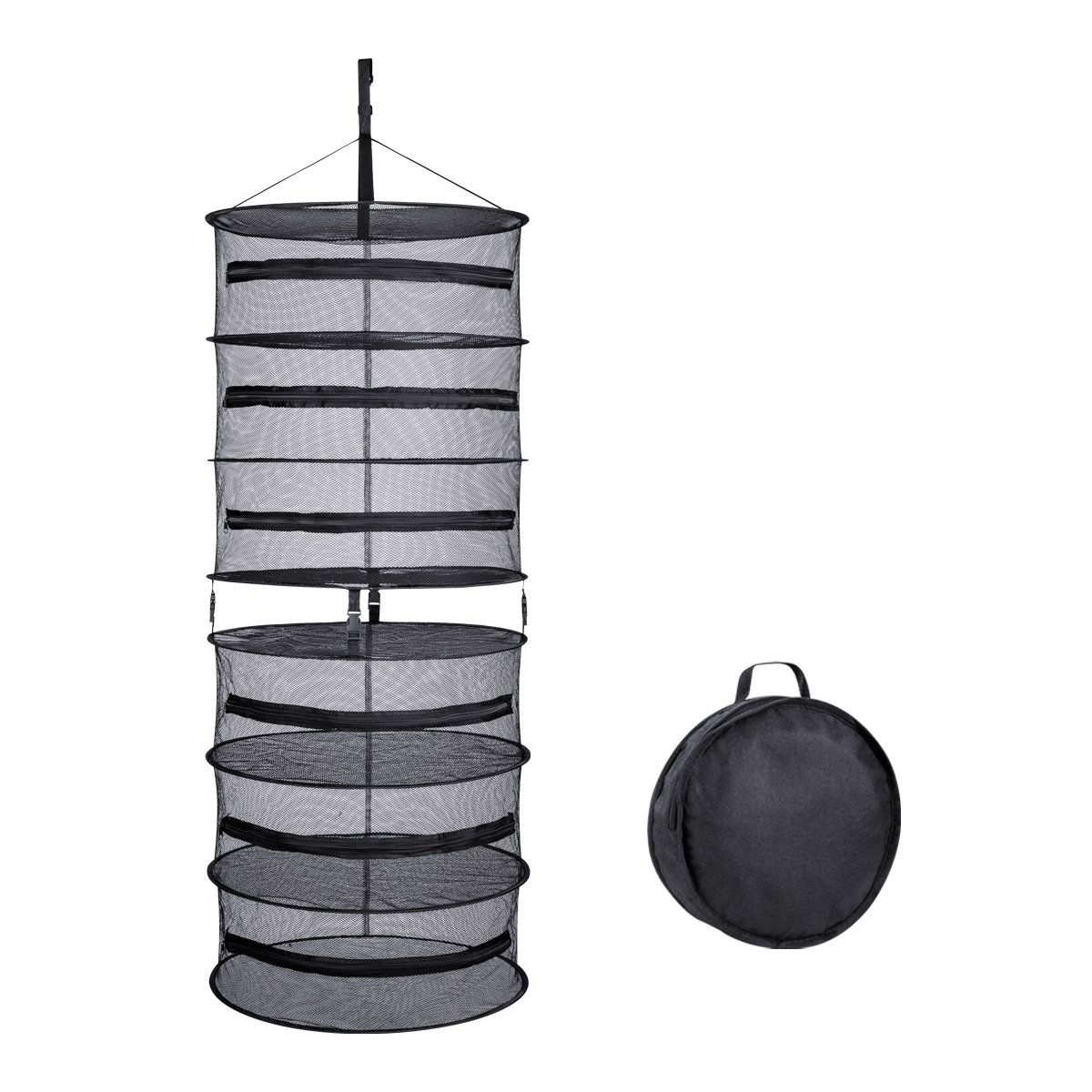 A1KINGDOM 2-ft 6 Layer Upgrade Collapsible Black Mesh Hanging Herb Drying Rack Dry Net for Hydroponic Plant