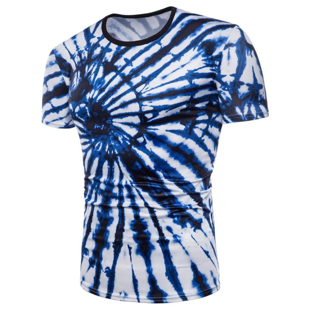 Longra Herren Hip Hop Style T-Shirt 3D Graphics Druck Tees T-Shirt Sommer Lustige Beilauml;ufige Kurzarm T-Shirts T-Stuuml;cke Mauml;nner Rundhals Casual Sport Spaszlig; Motiv Tops T-Shirt  M Blue