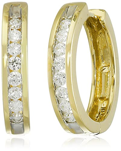 14k Gold Channel-Set Diamond Hoop Earrings (1/3 cttw, H-I Color, I1-I2 Clarity)