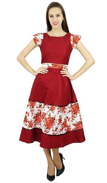 Amoghah Mujeres Medio Corto Vestidos De Algodón Patrón Clásico Vestido De Boho Chic Retro