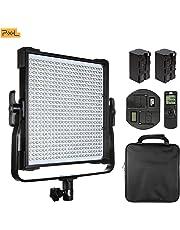 Pixel 600 Cuentas Luz de Video LED, CRI 97+, 3000-8000K Bicolor Ajustable, Control inalámbrico de 2.4GHz, 19000LM (0.5m), Pantalla LCD, Marco Ajustable en Forma de U de 360 Grados