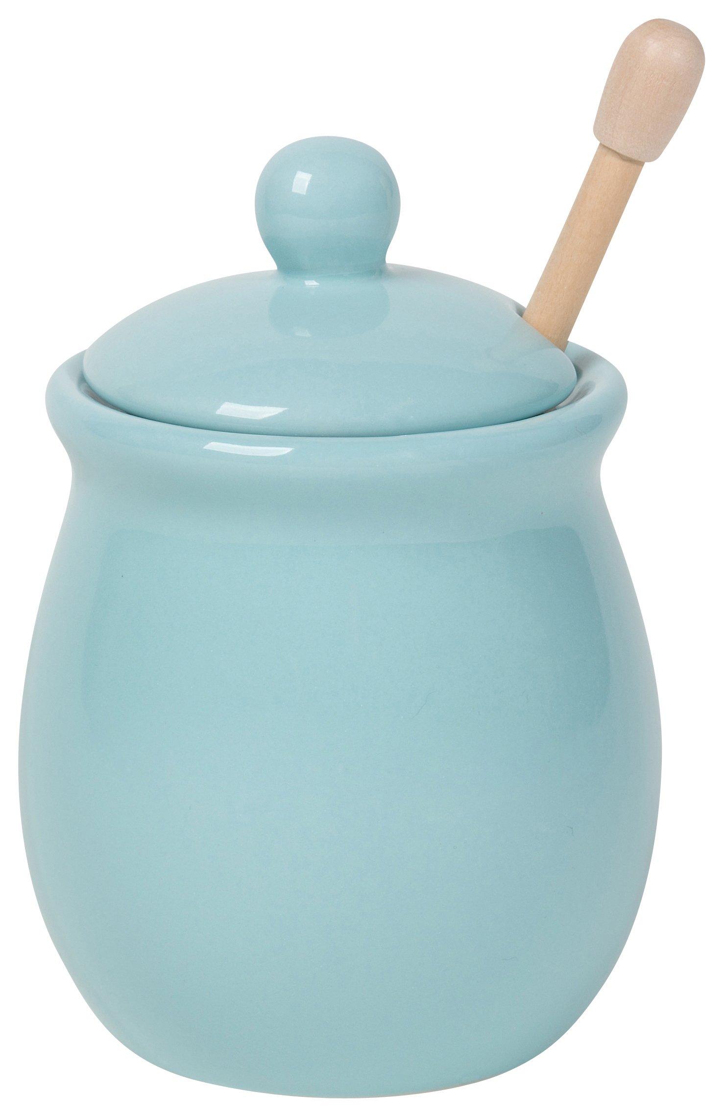 Now Designs Honey Pot with Wood Honey Dipper, Eggshell Blue
