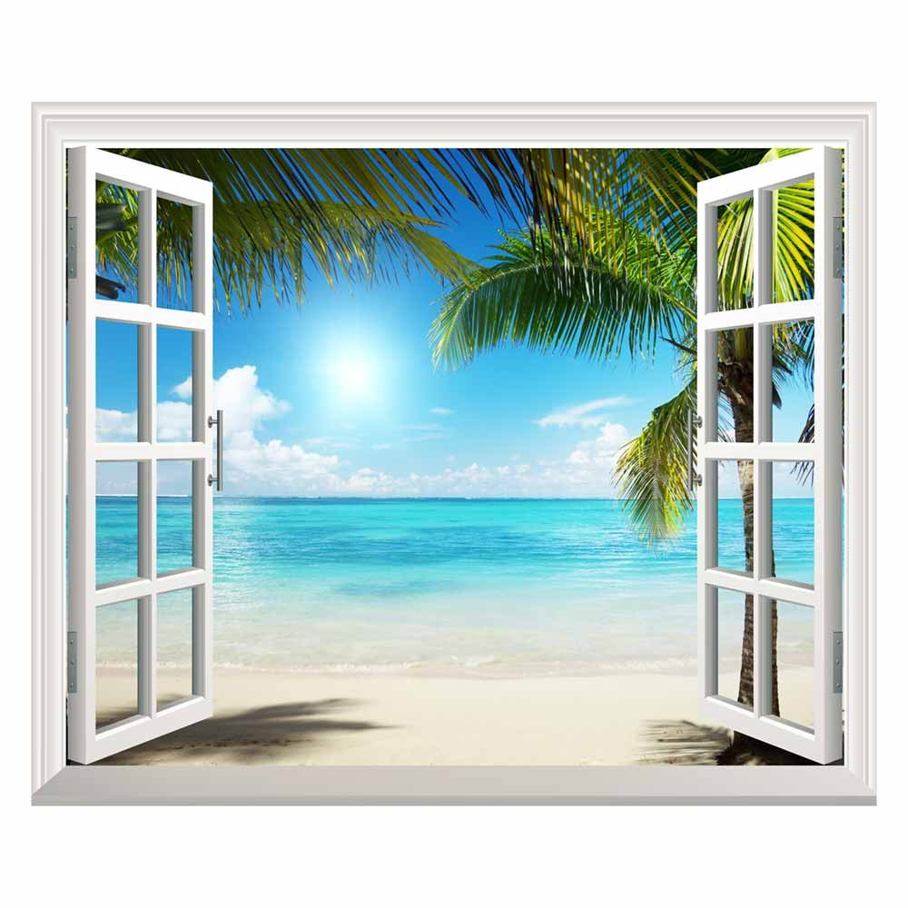 Open window beach - White Sand Beach With Palm Tree Open Window Mural Wall Sticker 30 X36