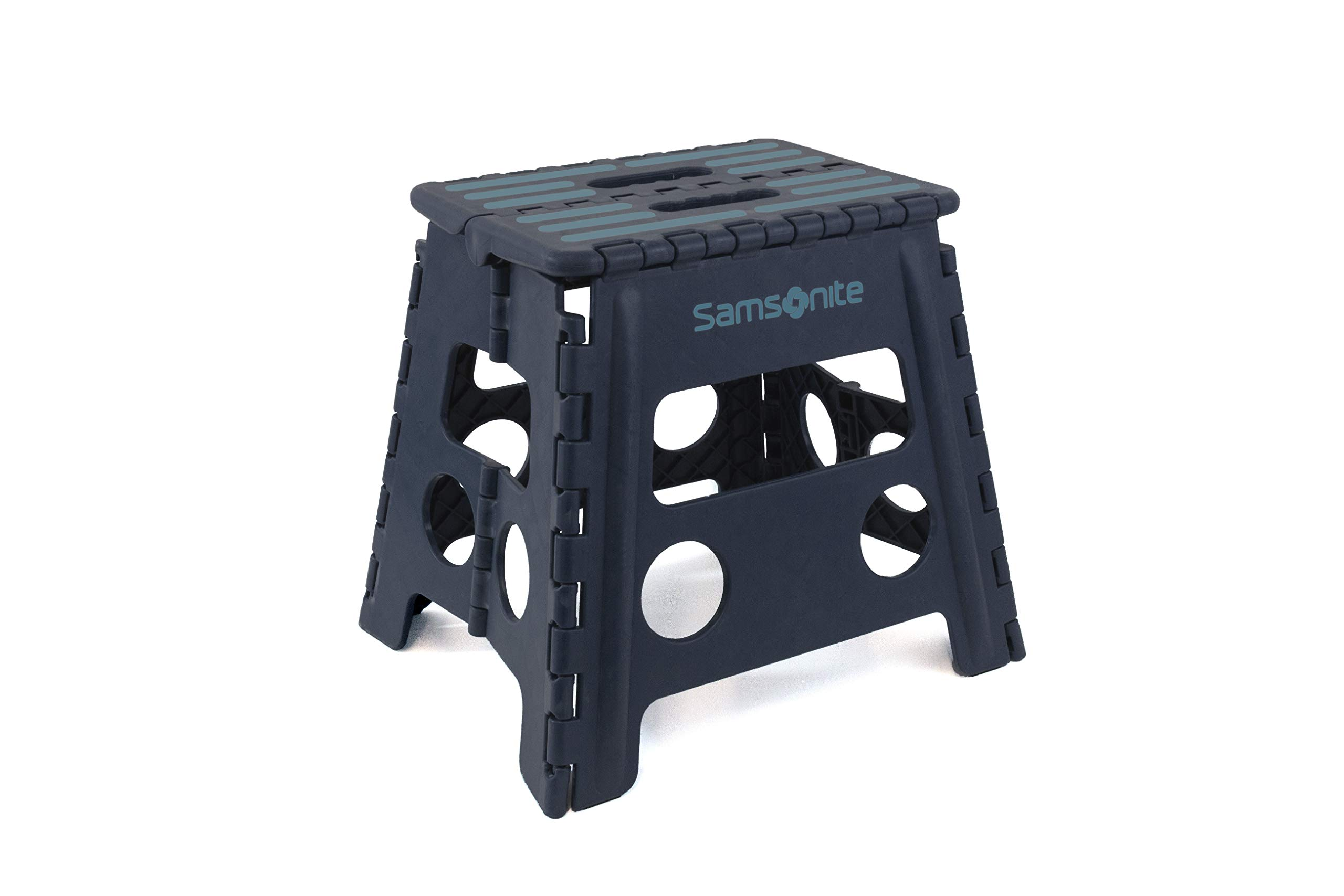 ULTRA-SLIM STEP STOOL - HEAVY DUTY:  Folds 2'' Wide in Navy Blue; by Vanderbilt Home by Inspired Living by Mesa (Image #1)