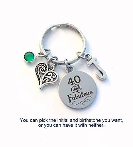 40th Birthday Gift For Women 40 And Fabulous Keychain Daughter Sister Best Friend Etc Key Chain Present