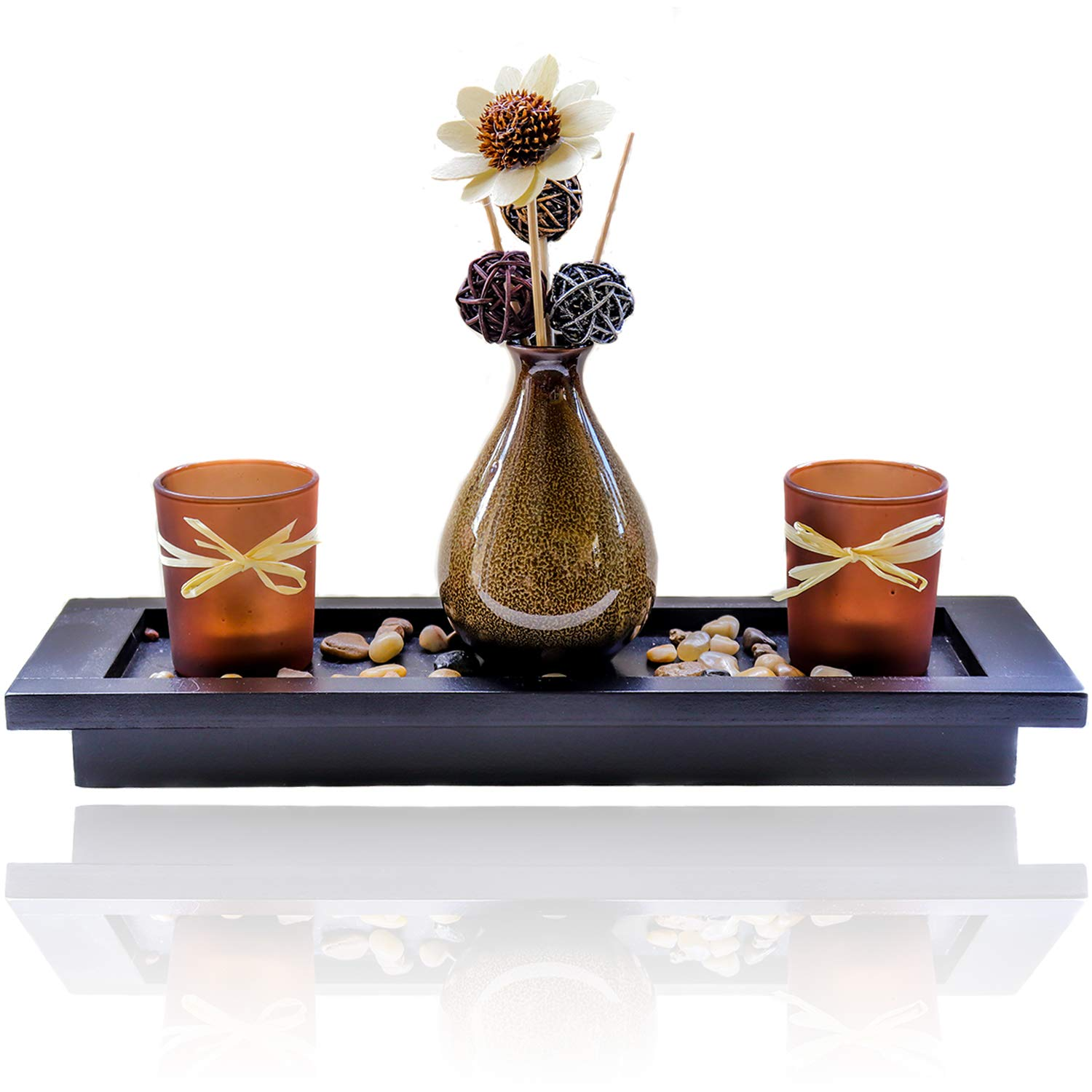 Simply Lily - Large Candlescape Centerpiece & Tea Light Candle Holder Set for Coffee Tables, Dining Rooms & Bathrooms   Gorgeous Modern Rustic Home Decor with Polished Stones and Decorative Vase