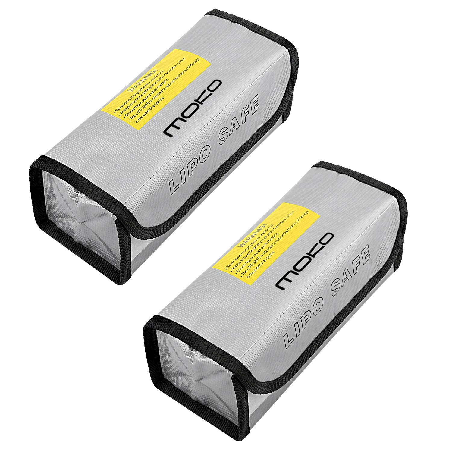 MoKo [2 PCS] LIPO Battery Fireproof Explosion Proof Safe Bag Fire Resistant Safe Box Guard Storage Pouch Sack for Protecting LIPO Battery and Charging (185 x 75 x 60 mm), Silver
