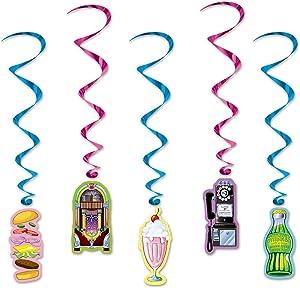 Beistle 54468 Soda Shop Hanging Swirls (5 Pcs) - 1 Pack, 34 by 3-Feet, Multicolor