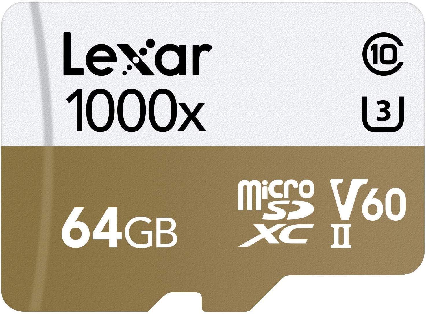 Lexar LSDMI64GCBNL1000R 64Go MicroSDXC UHS-II mémoire Flash - mémoires Flash (64 Go, MicroSDXC, UHS-II, 150 Mo/s, Multicolore)