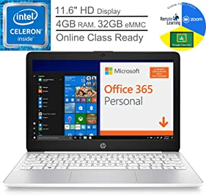 "HP Stream 11 11.6"" Laptop Computer for Business or Education, Intel Celeron N4000 up to 2.6GHz, 4GB RAM, 32GB eMMC, Office 365 1-Year, Online Class Ready, Diamond White, Windows 10, BROAGE Mouse Pad"