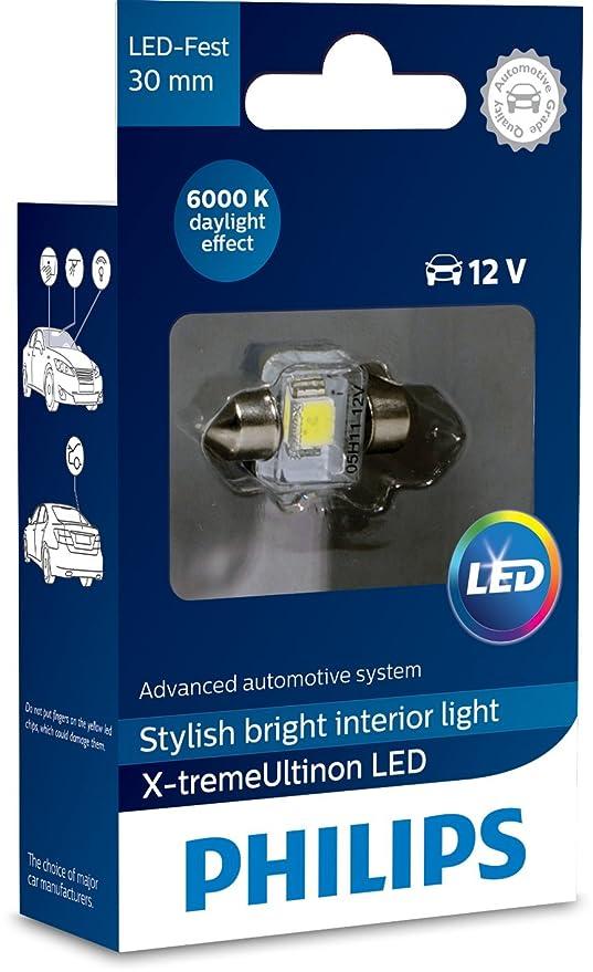 Philips 12941I60X1 X-tremeUltinon LED luz interior para coche C5W 30mm Festoon 6000K 12V,