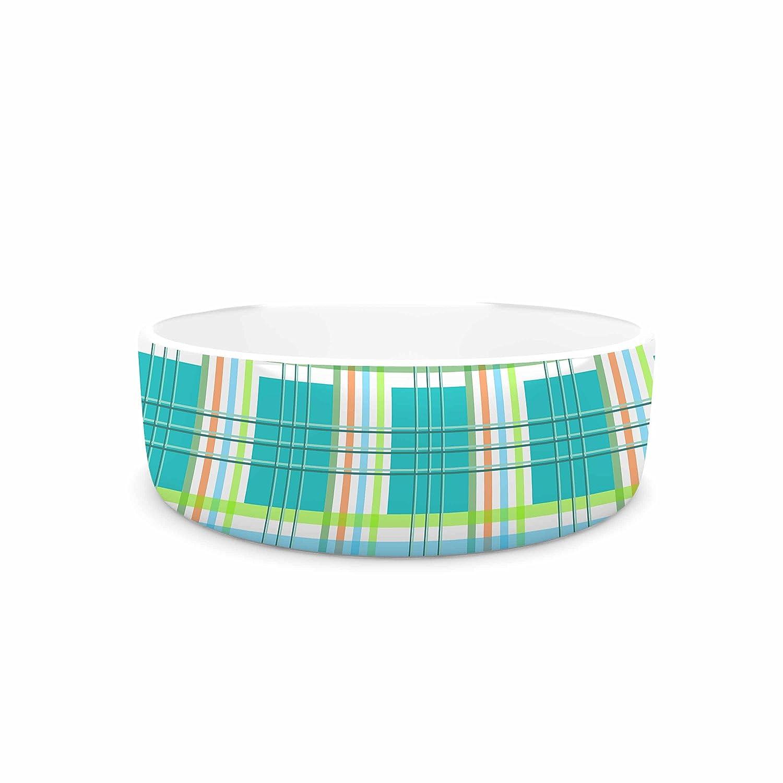 KESS InHouse afe Images Modern Plaid Pattern Teal Green Illustration Pet Bowl, 7  Diameter