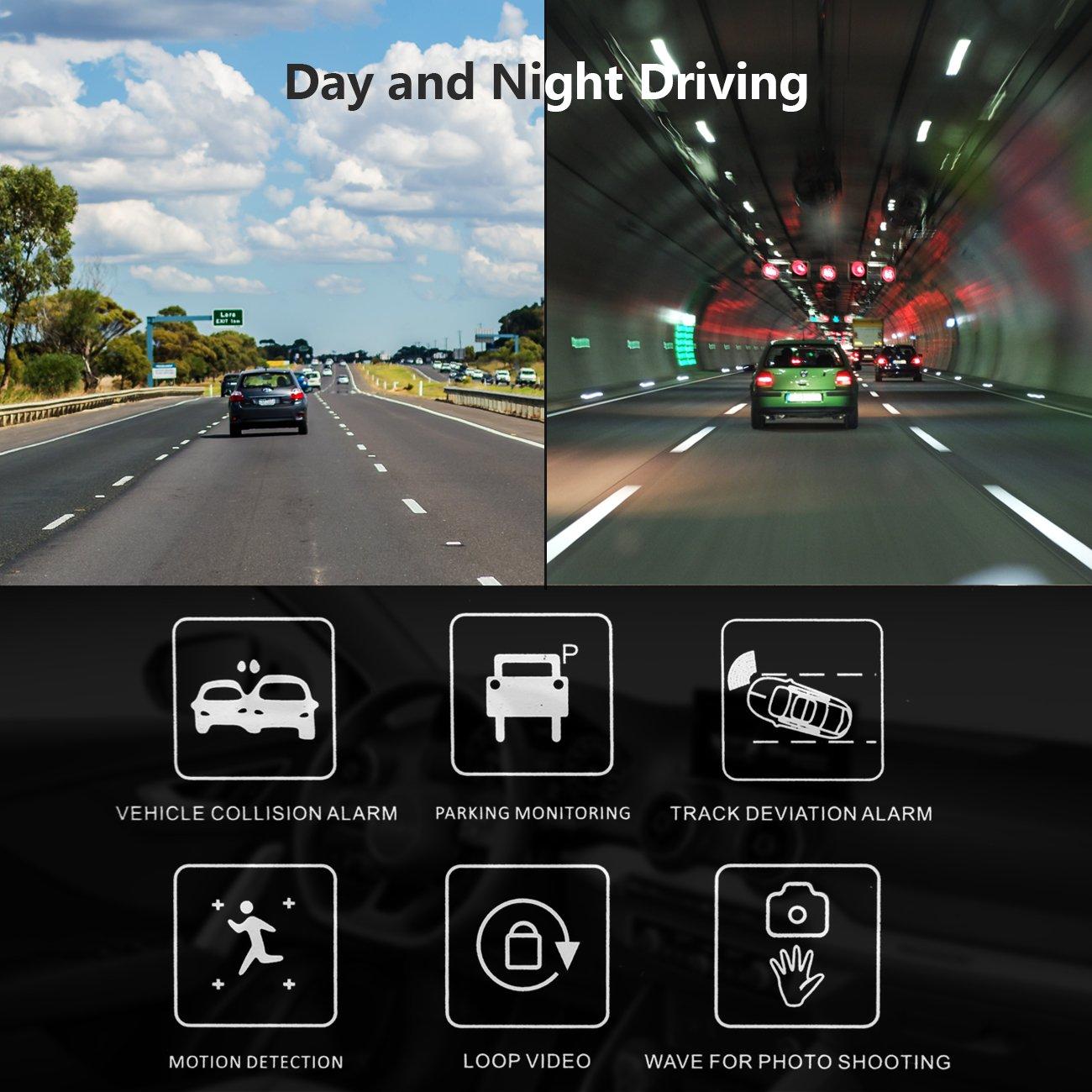 Car Dash Cam, Car Recorder 1080P FHD Gesture Sensor Camera 170 Degree Wide Angle Dashboard Camera Recorder with Sony Exmor Video Sensor, G-Sensor, WDR, Loop Recording, Night Mode,Parking Mode