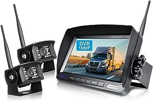 ZEROXCLUB Digital Wireless Backup Camera System Kit for RV/Truck/Trailer/Van/Bus,Night Vision,7inch HD LCD Monitor,IP69 Waterproof Rear View Camera No Interference Record (HW02-grey)
