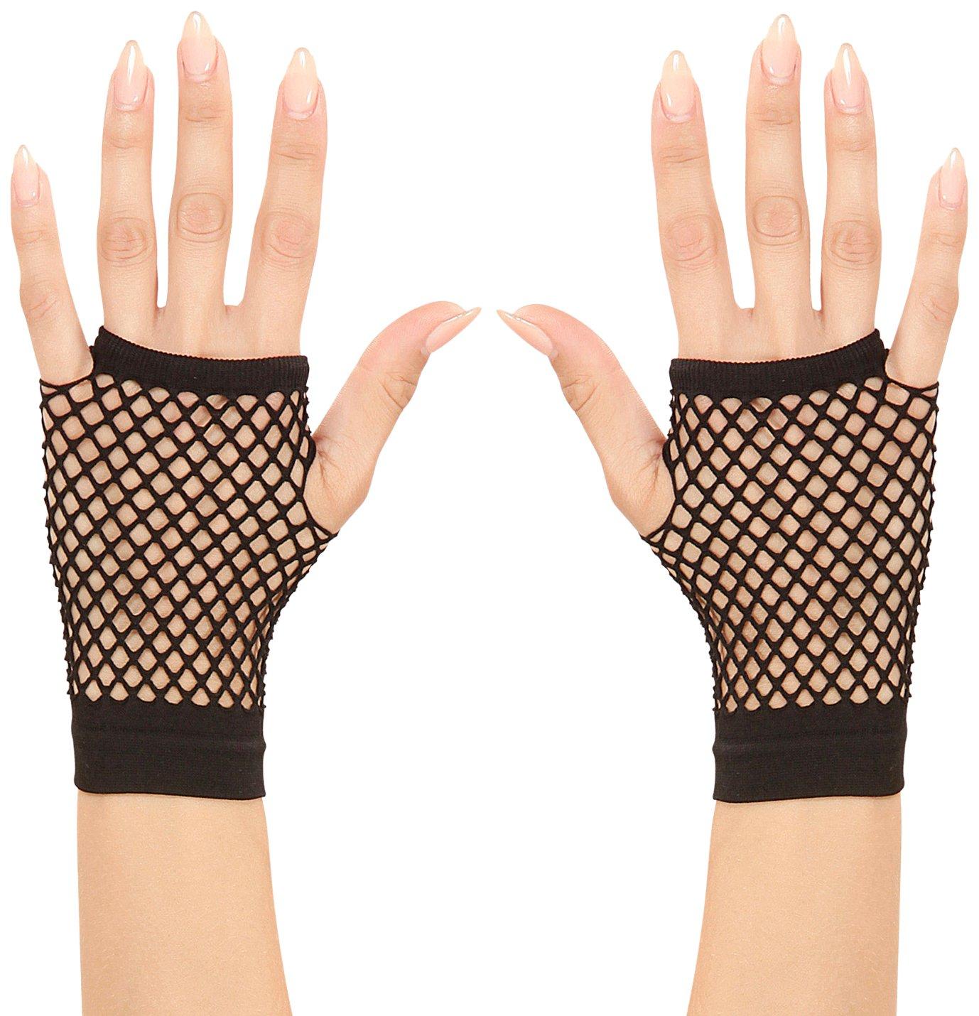 schwarz Erwachsene /Netz-Handschuhe ohne Finger Widmann 1487/K/