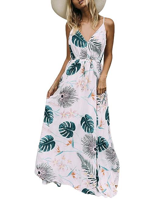 Auxo Donna Abito Lungo Maxi Vestiti Cotone da Stampa Senza Maniche Alta  Vita Estivo Eleganti Casual  Amazon.it  Abbigliamento d5bc390e50d