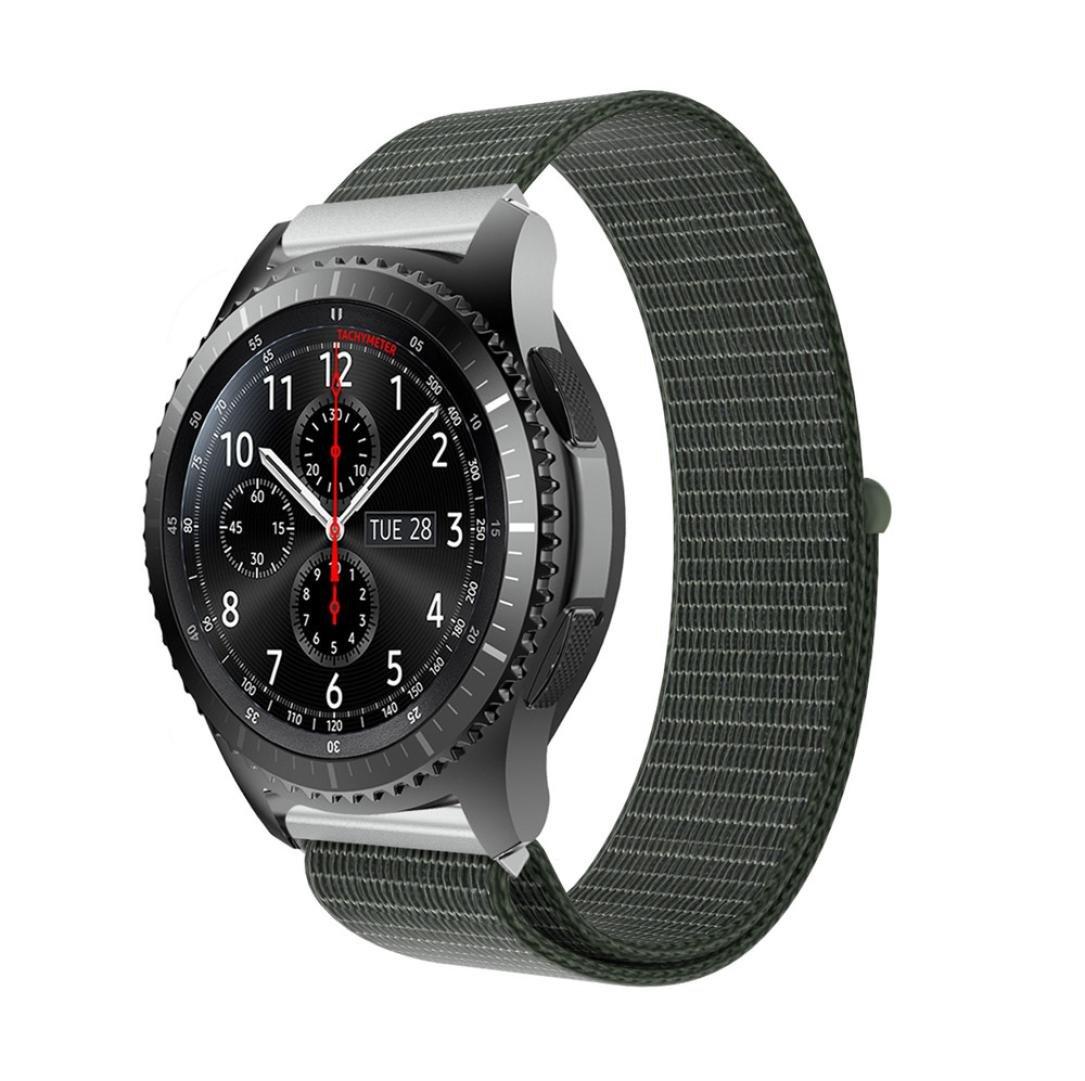 For Samsung Gear s3 Frontier Samrt腕時計ストラップ、ナイロンWatchブレスレットスポーツ交換リストバンド ベージュ アーミーグリーン アーミーグリーン B0792B6Q55