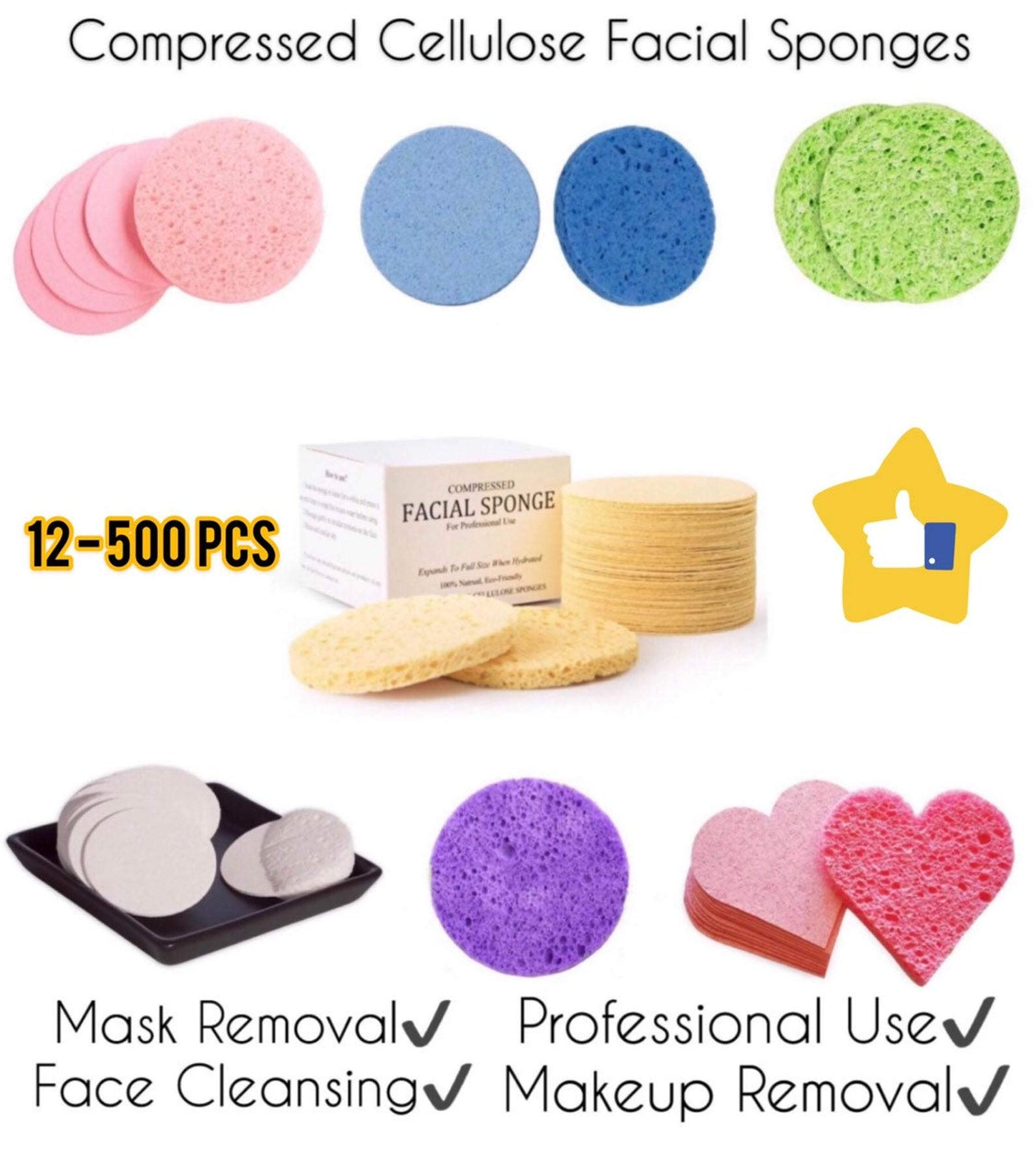 Face Sponges Compressed Cellulose Natural (Facial Cleansing Sponges) Makeup Removal Pads Bulk Sizes (300, Pink Round) by Glowing Skin