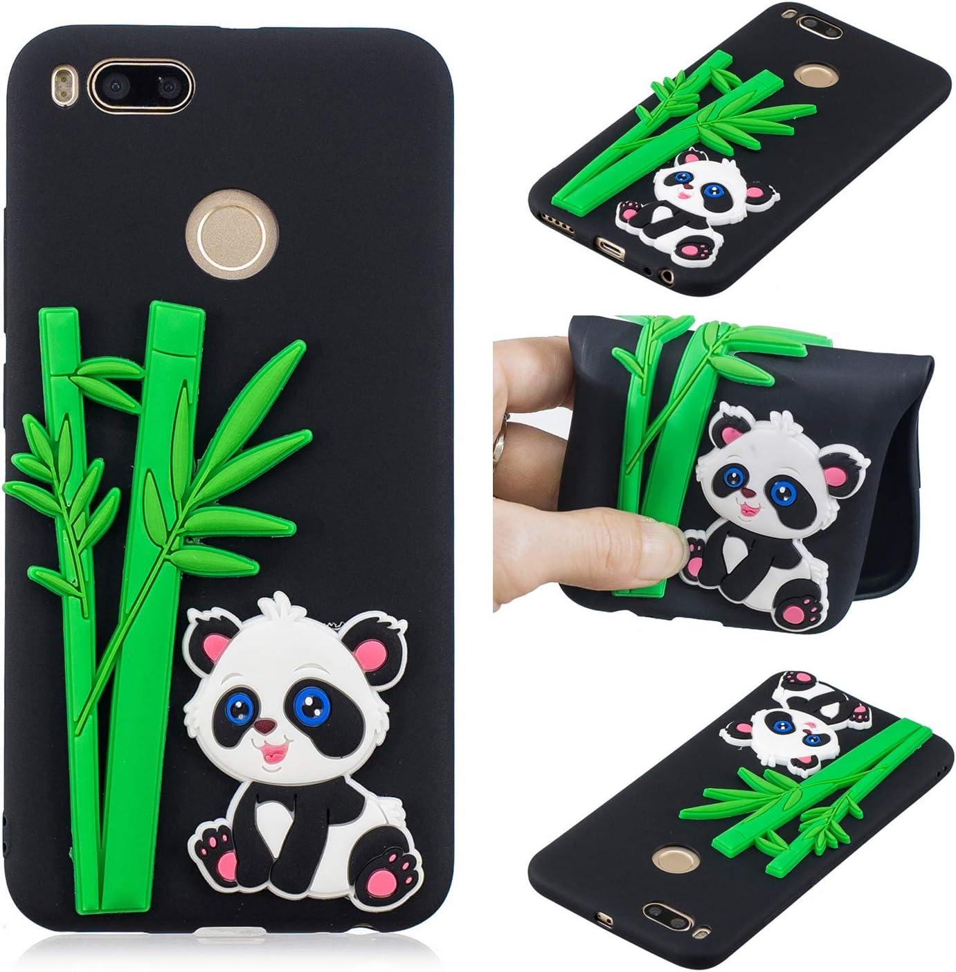 Funluna Funda Xiaomi Mi A1, 3D Bambú & Panda Patrón Slim TPU Suave Carcasa Silicona Gel Anti-Rasguño Protectora Bumper Case para Xiaomi Mi A1