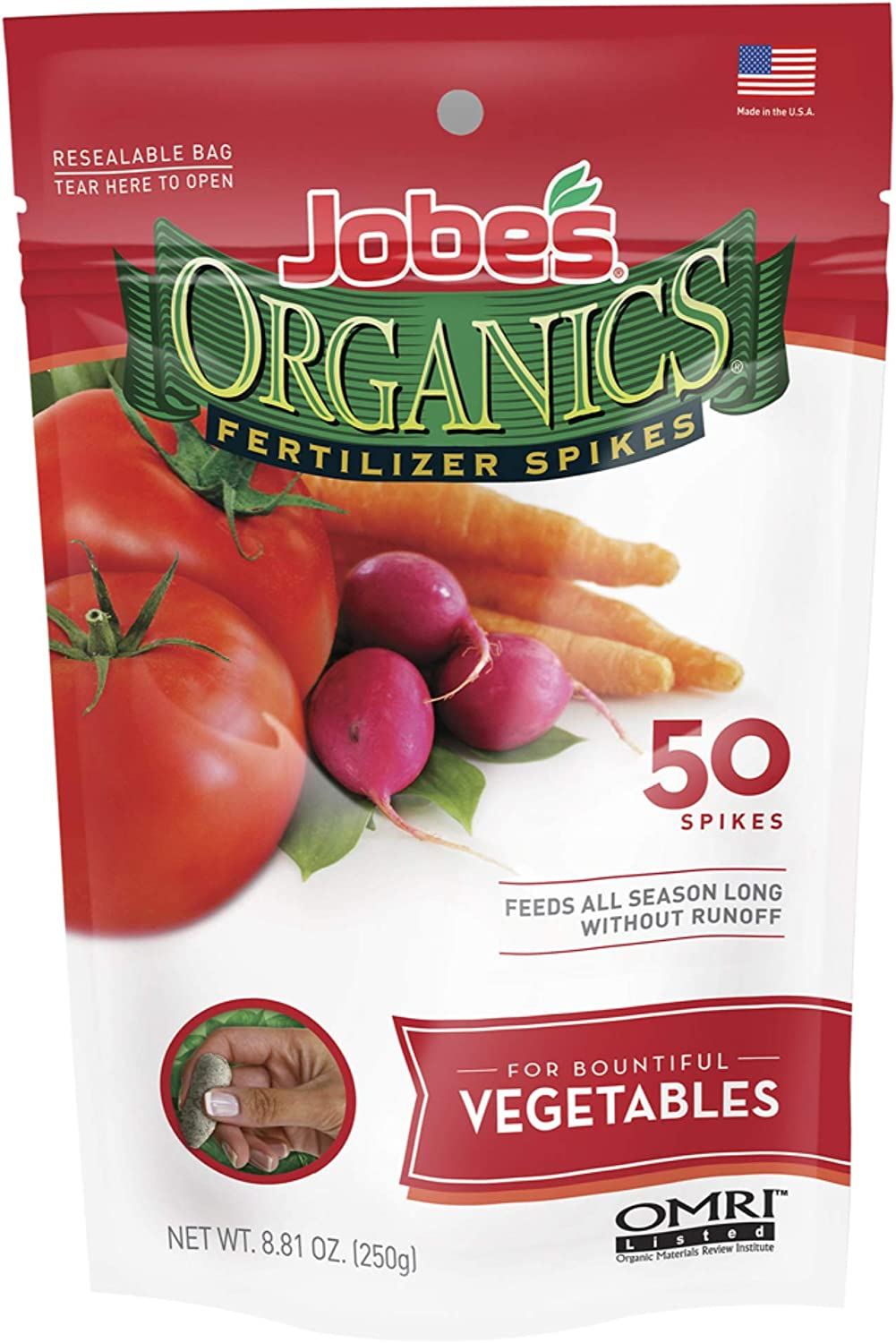 Jobes 06028 Organics Vegetable Fertilizer Spikes 2-7-4 50 Pack