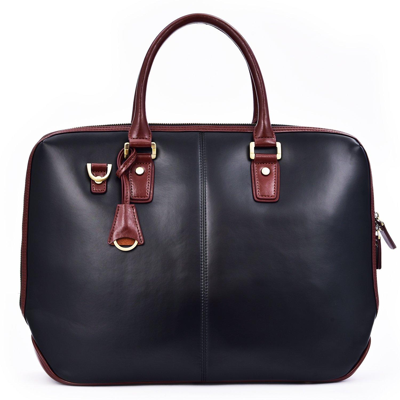 Men's Leather Satchel Briefcase Business Bag, 17'' Laptop Bag Crossbody Messenger Shoulder Bag Tote