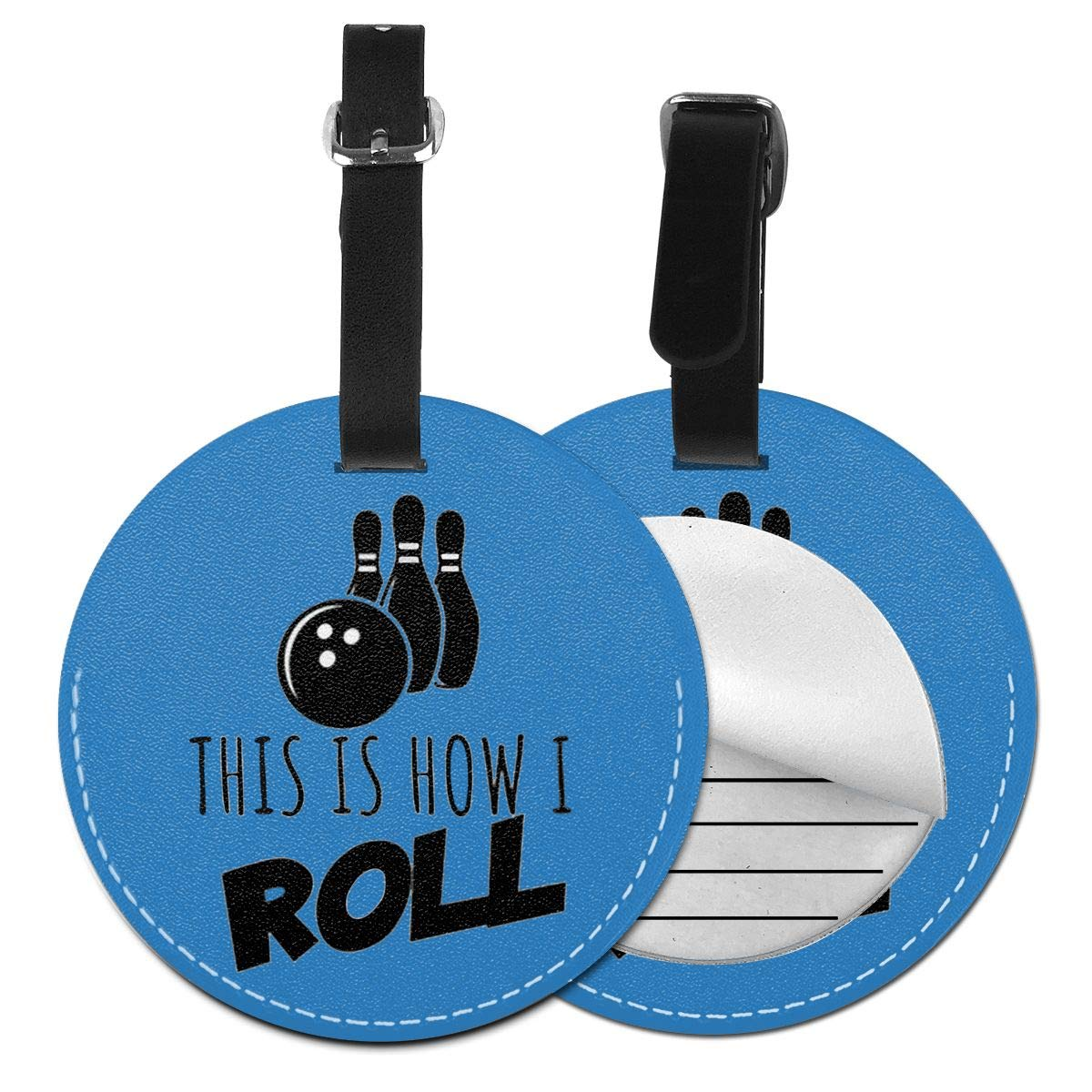 1pcs,2pcs,4pcs This Is How I Roll Bowling Pu Leather Double Sides Print Round Luggage Tag Mutilple Packs