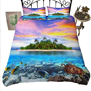Turtle Bedding Set Full Size Sea Turtle Printed Duvet Cover Ocean 3D Corals Fishes Decor Soft Comforter Cover for Kids Teens Boys Girls Sealife 3-Piece Quilt Set Hawaiin Style Turtle Bed Cover