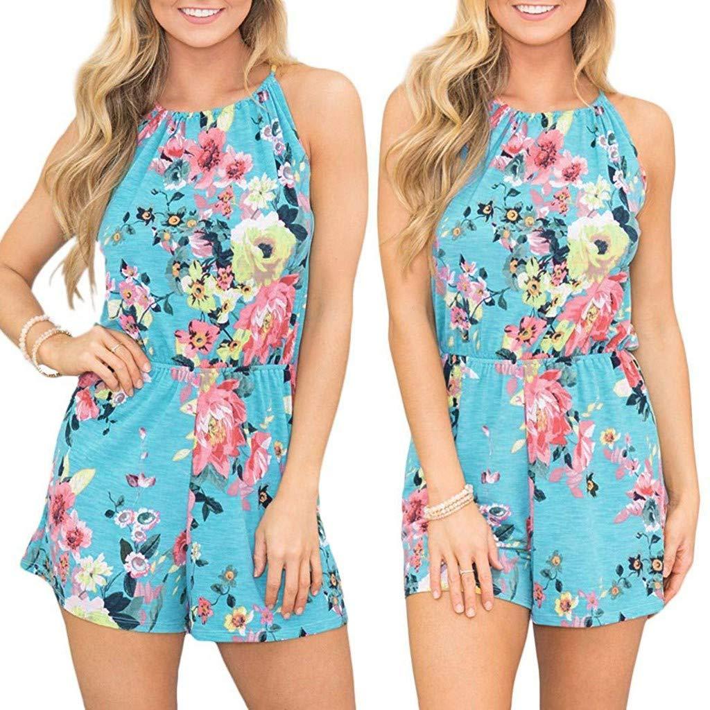 Carood Women Hanging Neck Sleeveless Suspender Casual Boho Floral Print Beach Short Jumpsuit