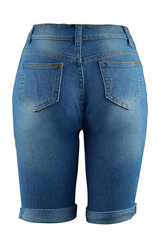 f749fcf294 Mujeres Pantalones De Dril De Algodon Verano Casual Plus Tamaño Ripped  Agujero Jeans Ajustados  Amazon.es  Ropa y accesorios