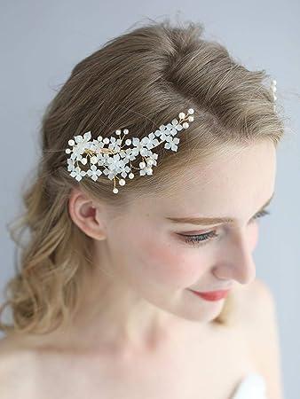 Bridal Bride Flower Wedding Hair Comb Crystal Pearl Hair Clip Slide Hairpiece UK