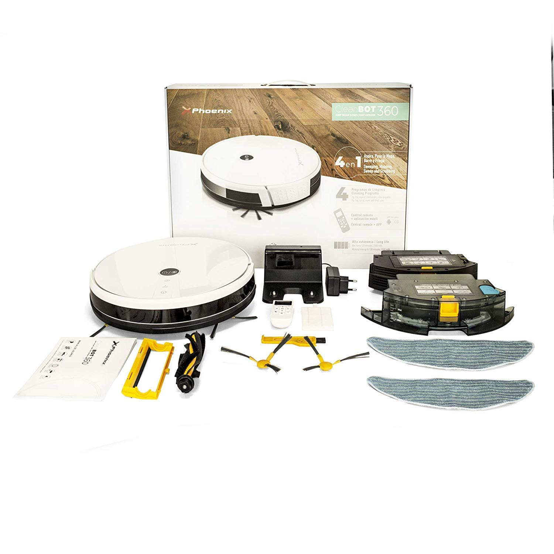 Phoenix Technologies Cleanbot360 - Robot Aspirador y Fregasuelos 4 en 1 con mapeo y App, Especial Mascotas, programable, 4 Modos de Limpieza, 2 depósitos, ...