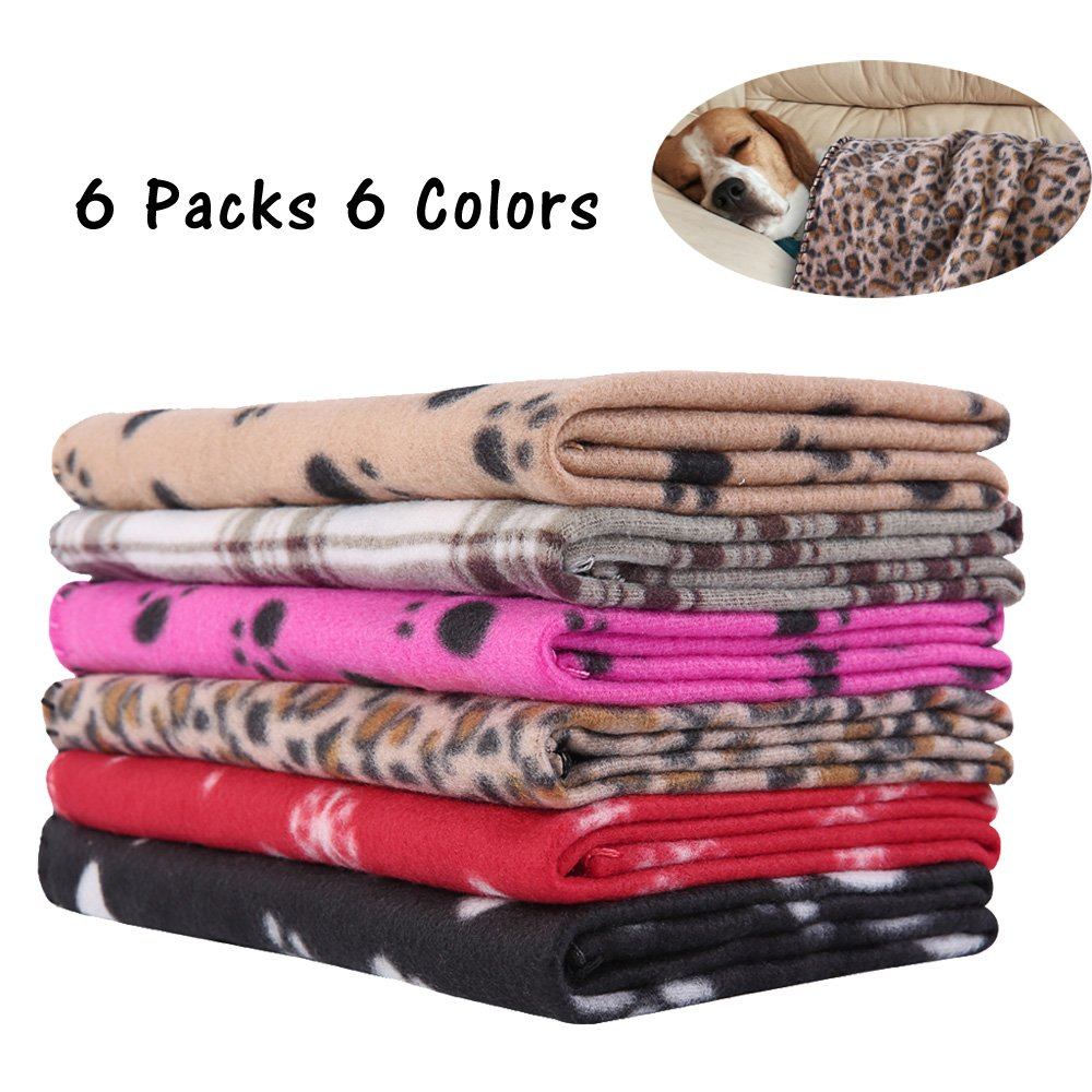 PUPTECK 6 Pack Puppy Blanket Warm Dog Cat Fleece Sleep Mat/Bed Cover for Kitten Small Animals