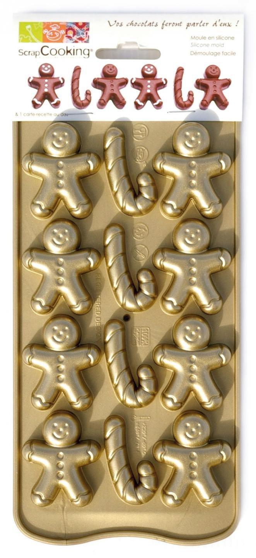Scrapcooking 6724 Petit Homme d'é pices Moule Souple Chocolat Silicone/Platinum Or 25 x 11 x 1, 5 cm CARAMBELLE SAS 3700392467241