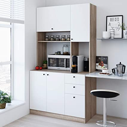 Living Skog Large Kitchen Storage Cabinet Kitchen Cabinet With Extended Storage Space And Microwave Cart Pantry Cabinet With Drawers Kitchen And Pantry Cabinet Smart Storage Kitchen Furniture Amazon In