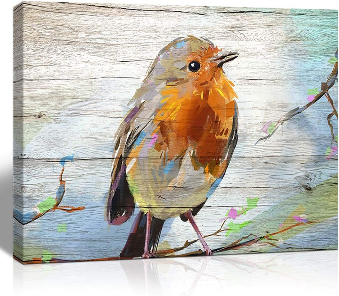 The Melody Art Watercolor Bird on Wooden Texture Background Canvas Wall Art Kitchen Accessories Wall Decorations for Living Room 12x16 in 1 PCS Stretched and Framed