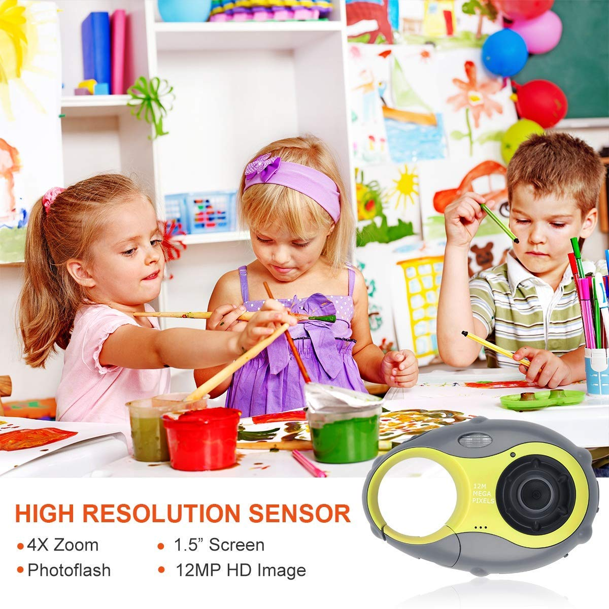 Kids Camera, Digital Camera for Children, 12MP HD Kids Video Camera with 1.5 Inch LCD Screen, 4x Digital Zoom, Flash Light, Rechargeable Battery and 8GB SD Card, Best Holiday Gift for Boys and Girls by LDF (Image #3)