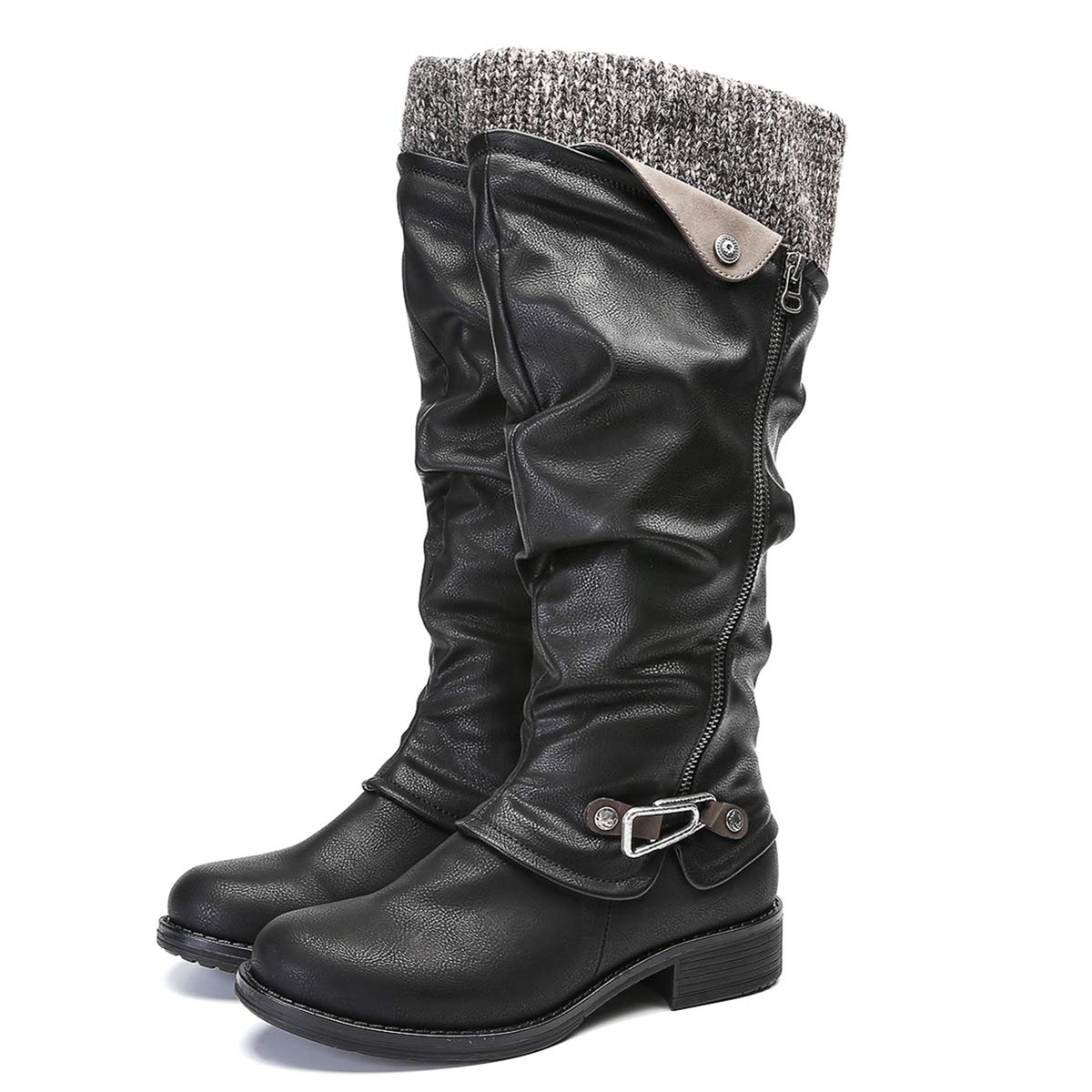 Botas Altas de Anvierno para Mujeres,Camfosy Botas de Nieve de con Tacones Planos de Piel Sint/ética de Piel Botas con Tobillo de Jinete Bajo C/ómodos Zapatos de Ciudad Peludos 2018 Negro Gris Marr/ón