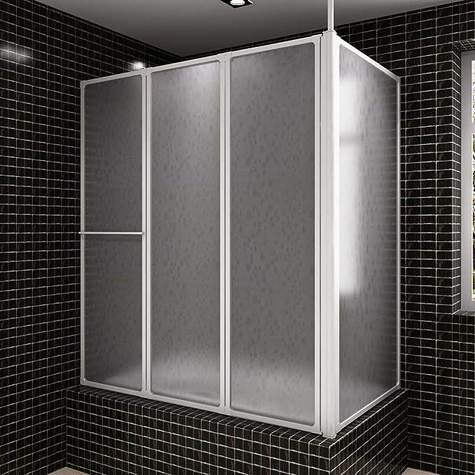 Tidyard Mampara de Ducha con 4 Paneles Plegables y toallero ...