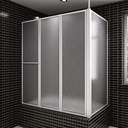 UnfadeMemory Mampara de Ducha con 4 Paneles Plegables,Marco de Aluminio,Toallero,Tabla de PP,Montaje Universal,Sellos del Fondo Engomados para Evitar Fugas,70x120x140cm Blanco: Amazon.es: Hogar