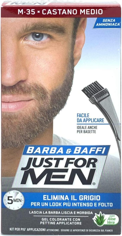 Just for Men Barba y Baffi color permanente con pincel sin amoníaco castaño medio M-35 2 x 14 ml
