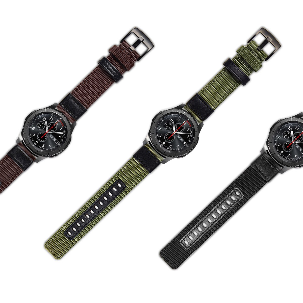 Gear S3 Bands Nylon, Maxjoy S3 Frontier Classic Band 22 mm Woven Nylon Replacement Strap Large Sport Wristband Bracelet with Stainless Steel Metal Buckle for Samsung Gear S3 Smart Watch, Army Green by Maxjoy (Image #7)