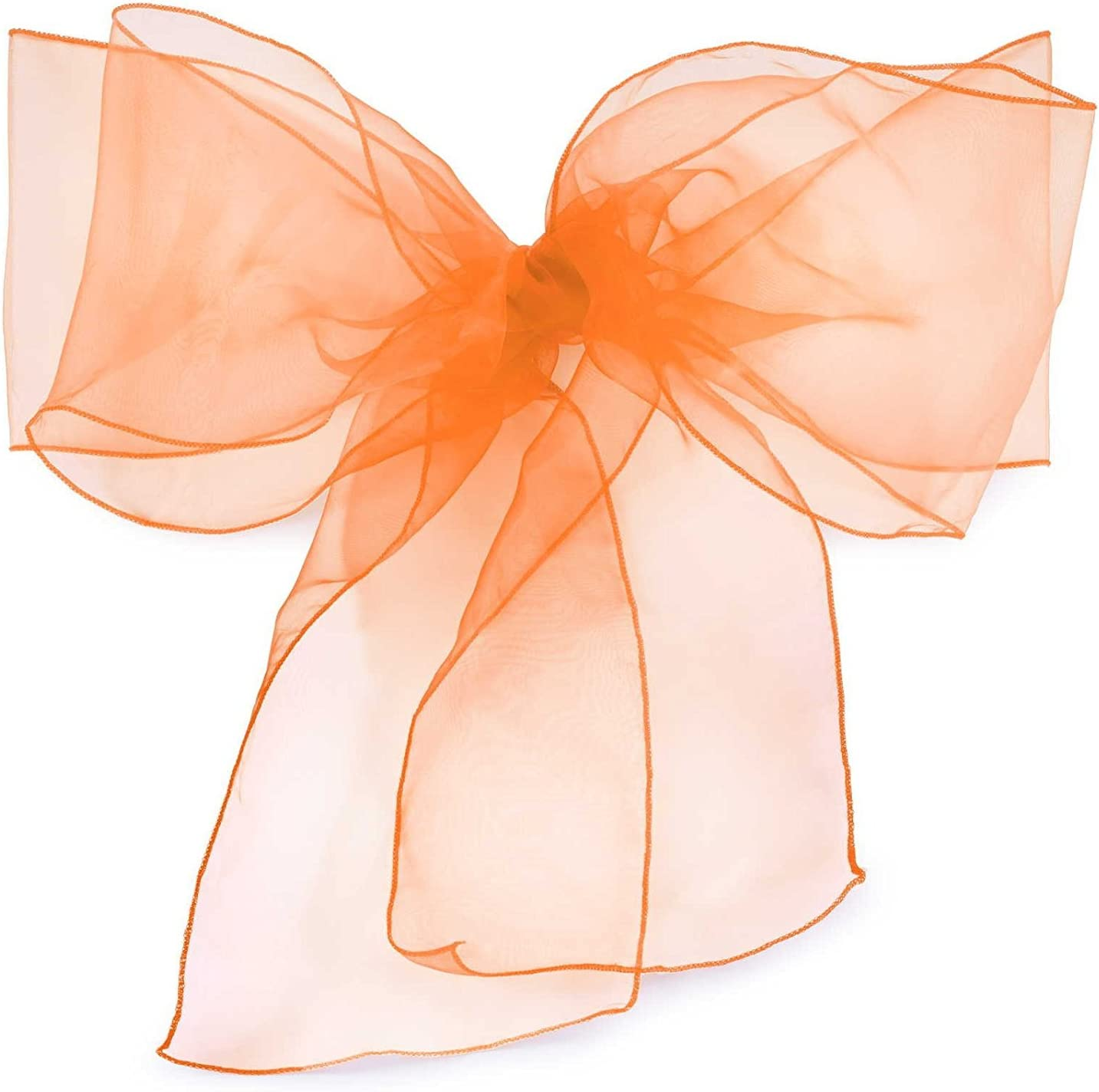 Elina Home Pack of 10 Organza Net Chair Cover Bow Sash Wedding Banquet Decor Coral (10, Burnt Orange)